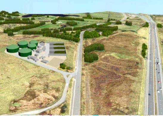 Artist's impression of the Greenhags biogas plant - from The Glasgow South and Eastwood Extra